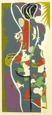 Josef zenk american 19042000 girl with a basket screenprint in colors framed provenance private collection new jersey signed titled and numbered 14150 25 34 x 9 12 sight