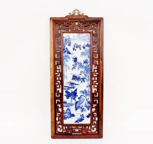 Chinese Blue  White Porcelain Plaque in Frame