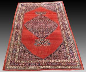 Hand Woven Persian Mahal Carpet Rust and Blue