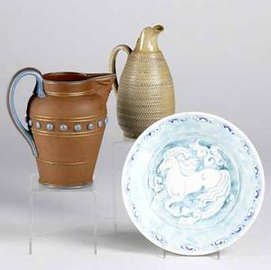 Royal lancastrian etc bowl with horse decoration together with terracotta pitcher and stoneware pitcher bowl 2 38 x 8 12 dia