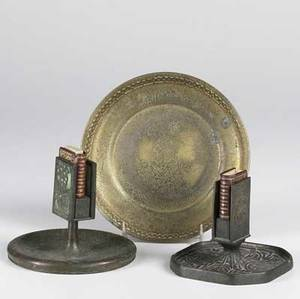 Tiffany studios three pieces zodiac match holder dore bronze bowl and match holder with glass panels tallest 4