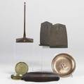 Roycroft nine pieces include pair of bookends pen tray hammered copper bowl and four ashtrays each signed together with one unidentified piece all 20th c tallest 8 38