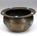 Arts  crafts hammered copper jardiniere with eight riveted glazed ruskin cabochons unmarked 6 12 x 11 12