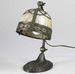 Panel glass desk lamp spelter metal base with bent arm and caramel slag glass lamp shade 20th c 14 12