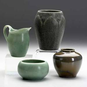 Rookwood four production pieces two vases a small green sugar bowl and milk pitcher all stamped tallest 4 12
