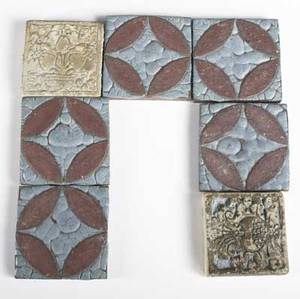 Grueby  batchelder five grueby tiles with circular decoration and leathery glaze together with two batchelder floral tiles grueby tiles 3 x 3