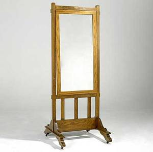 Arts  crafts standing floor mirror pittsburgh plate glass co tag 75 x 28 12 x 21