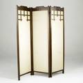Arts  crafts three panel screen with cutout top rail and decorative strapping over a linen ground each panel 69 x 18 34