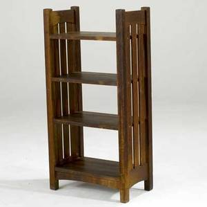 L  jg stickley magazine stand with slatted sides and skinned finish branded work of 42 x 21 x 12
