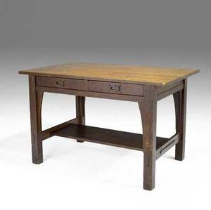 Gustav stickley library table no 615 with two drawers having hammered copper pulls four legs with interior corbels and through tenon stretchers to base red decal 30 x 48 x 29 12
