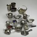 American and european silver 19th20th c sixteen pieces of mixed assay 800 silver basket two loring andrews sterling nut dishes etc 23 ot weighable silver tallest 3 14