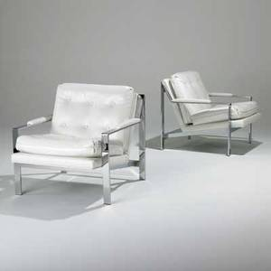 Milo baughman thayercoggin pair of lounge chairs usa 1970s chromed steel vinyl unmarked 29 x 29 12 x 32 12