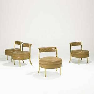 Billy haines attr four chairs usa 1960s brass leather john stuart retail labels 25 x 21 x 22 12