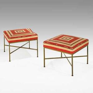 Paul mccobb calvin pair of benches usa 1950s brass and canvas unmarked 16 x 20 sq