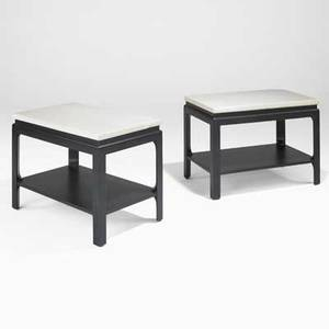 Paul frankl johnson furniture co pair of sofa tables no 5015374 usa 1940s lacquered cork ebonized mahogany both stenciled with numbers 21 14 x 30 x 18
