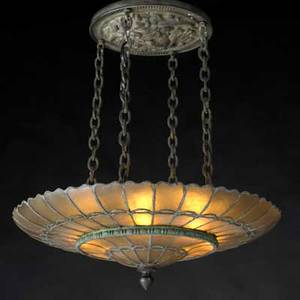 Art deco leaded glass chandelier with medusa medallion 1920s glass brass unmarked overall 27 x 19