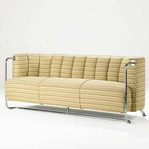 Gilbert rohde troy sunshade sofa usa 1930s chromed steel upholstery unmarked 27 12 x 70 x 28 12