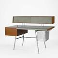 George nelson herman miller homeoffice desk no 4658 usa 1940s walnut leather chromed steel aluminum unmarked 40 34 x 55 x 28