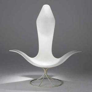 Erwin and estelle laverne laverne international tulip armchair usa 1960s enameled fiberglass and steel unmarked 49 12 x 46 x 34