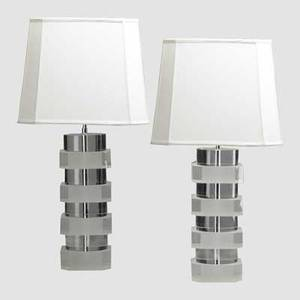 Karl springer karl springer inc pair of sandblasted lucite table lamps clear and frosted acrylic chromedsteel silk shades 12 x 13 overall 30 x 13