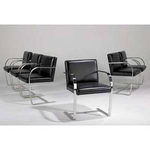 Ludwig mies van der rohe knoll international set of six brno chairs germany 1980s stainless steel and recycled leather unmarked 32 x 23 x 23