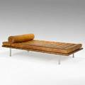 Ludwig mies van der rohe knoll associates barcelona daybed usa 1960s mahogany leather stainless steel unsigned 23 x 39 x 78