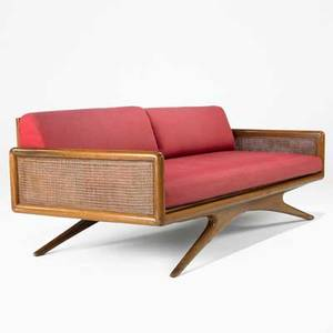 Vladimir kagan kagandreyfuss inc sofa usa 1950s sculpted walnut cane canvas paper label and brand 27 12 x 76 x 35
