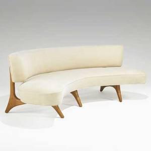 Vladimir kagan kagandreyfuss inc floating seat and back sofa usa 1950s wool sculpted walnut unmarked 31 12 x 83 x 48