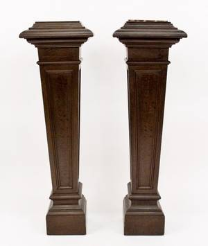 Pair of Brown Painted Wood Floor Pedestals