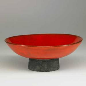 Laura andreson footed ceramic bowl rare red glaze usa 1950 signed and dated 3 14 x 8 12