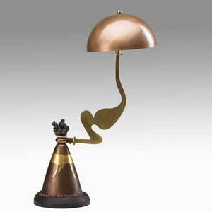 Gary knox bennett table lamp in oakland usa 1995 copper brass and oak provenance from the collection of peter t joseph new york signed in oakland gkb anim 95 504 20 12 x 13 x 7