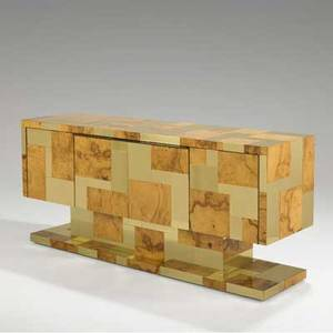 Paul evans directional citiscape cabinet usa ca 1975 olive burl and brass provenance purchased by the consignor from paul evans signed 32 12 x 72 x 21