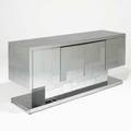 Paul evans directional cityscape cabinet usa 1970s chromed steel laminate unmarked 32 x 72 x 21