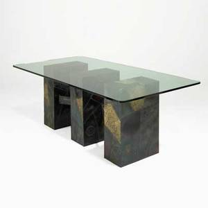 Paul evans directional fine dining table usa 1970s welded and polychromed steel bronze glass unmarked 30 x 82 x 40 12