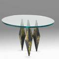 Paul evans paul evans studio occasional table usa 1960s welded steel and bronze unsigned base 19 x 14 x 13 glass top 30 dia