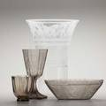 Simon gate orrefors four clear and smoked crystal vessels with engraved nudes and horses sweden 1920s all signed chalice dated 1927 largest 9 14 x 11 smallest 4 12 x 4 14