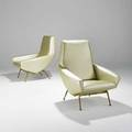 Genevieve dangle and christian defrance pair of lounge chairs france 1950s maharam neoprene brass 36 12 x 31 12 x 33