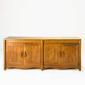 Don schumacher parquetry cabinet mexico 1965 carved and inlaid cocobolo wood signed and dated 30 x 72 x 24