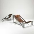 Archizoom associati poltrona pair of mies chairs and one illuminating ottoman italy 1969 chromed steel leather unmarked 30 x 29 x 51 12 14 x 41 x 8