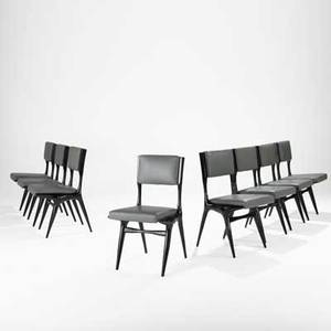 Carlo di carli singer  sons set of eight dining chairs italy 1950s ebonized italian walnut leather unmarked 34 12 x 18 x 21