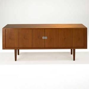 Hans wegner ry mobler cabinet with tambour doors denmark 1960s teak matte chromed steel white oak unmarked 31 x 78 34 x 19 12