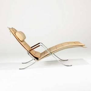 Preben fabricius  jorgen kastholm alfred kill grasshopper lounge chair denmark 1968 leather canvas matte chromed steel unmarked 32 12 x 27 12 x 51