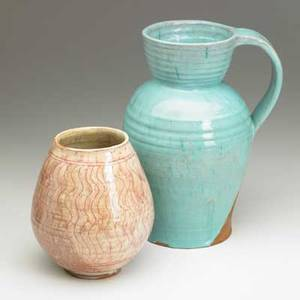 Henry varnum poor early glazed faience vase and pitcher vase with sgraffito decoration 1926 provenance litchfield historical society incised hvp 26 museum numbers 6 12 and 10