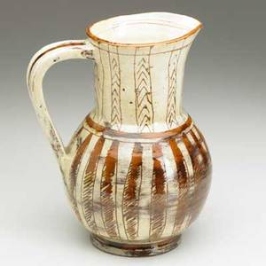 Henry varnum poor early glazed faience pitcher sgraffito decoration 1926 provenance litchfield historical society incised hvp 26 museum numbers 9 12 x 7 12