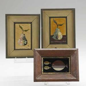 Richard blow montici three pietra dura plaques of pears and fish italy 1960s mounted in original frames each has inlaid medallion and original paper price tag plaques 2 38 x 4 with frames