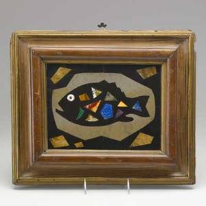 Richard blow montici pietra dura plaque of fish framed italy 1960s m cipher made in italy tile 9 12 x 7 14