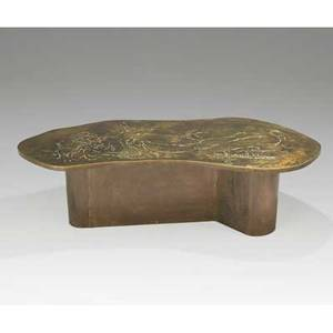 Philip and kelvin laverne coffee table usa 1960s etched and polychromed bronze signed philip and kelvin laverne 18 14 x 62 12 x 26 14