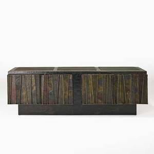 Paul evans directional deep relief cabinet usa 1971 polychrome welded steel slate provenance purchased by consignor from paul evans signed and dated 31 12 x 96 x 21 34