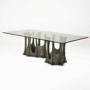 Paul evans directional sculpted bronze dining table usa 1971 bronze composite metal glass provenance purchased by consignor from paul evans signed pe 71 29 14 x 96 x 48