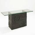 Paul evans directional sculpted bronze console usa ca 1969 bronze composite metal glass unsigned 29 14 x 62 x 24